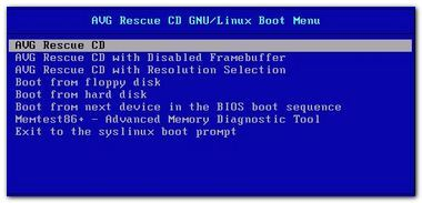 PCpercaso.com: AVG Rescue CD - Main Menu