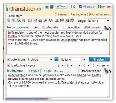 ImTranslator - Traduttore e dizionario on-line per Firefox