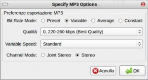 Audacity - MP3 Options