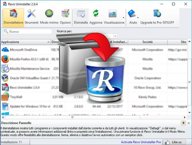Revo Uninstaller Free - Disinstallare programmi e ottimizzare Windows